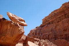 Red sandstone rocks in Arava desert. Royalty Free Stock Photos