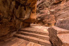 Red sandstone stair pathway in Badami fort Royalty Free Stock Photo