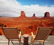 Red sandstone in the valley of the Navajo Stock Image