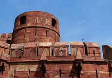 Red sandstone wall of Agra Fort Stock Image