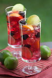 Red Sangria. Closeup of two glass of Red Sangria - apricot, lime and blackberry - on outside table stock image