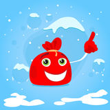 Red Santa Bag Cartoon Character Point Finger Up. Show Empty Copy Space Christmas Present Gift Concept Blue Snow Background Flat Vector Illustration Royalty Free Stock Photo