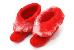 Red Santa boots Royalty Free Stock Image