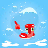 Red Santa Boots Cartoon Character Point Finger Up Stock Image