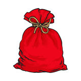 Red Santa Claus bag full of presents Stock Images