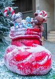 Red Santa Claus boot and toys royalty free stock images