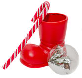 Red Santa Claus boots Stock Images