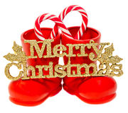 Red Santa Claus boots, shoes with Merry Christmas  Royalty Free Stock Photos