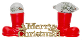 Red Santa Claus boots, shoes with Merry Christmas write, letters isolated Stock Images