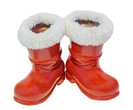 Red Santa Claus boots, shoes. Saint Nicholas boots gifts,white background. Royalty Free Stock Images