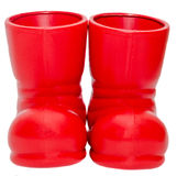 Red Santa Claus boots, shoes. Saint Nicholas shoes. Isolated  white background. Stock Photography