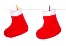 Red santa claus christmas boots Royalty Free Stock Photos