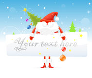 Red Santa Claus with Christmas tree Stock Image