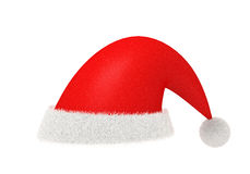 Red Santa Claus  and fur hat isolated with clipping path. Red Santa Claus hat made from cloth and fur isolated on white with clipping path Royalty Free Stock Photography