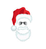 Red Santa Claus Hat, beard and glasses. Royalty Free Stock Photo