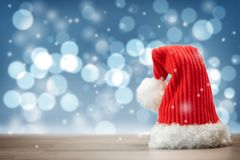 Red Santa Claus hat with copy space. stock photo