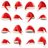 Red Santa Claus hat icons set, cartoon style Stock Photo