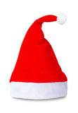 Red Santa Claus hat isolated. Red Santa Claus hat on white background Royalty Free Stock Photo