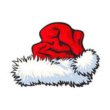 Red Santa Claus hat isolated on white background Stock Photo