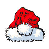 Red Santa Claus hat isolated on white background Stock Image