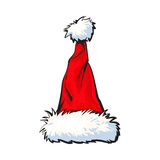 Red Santa Claus hat isolated on white background Royalty Free Stock Images