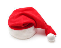 Red santa claus hat on white Royalty Free Stock Photography