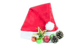 Red Santa Claus hat on a white background Royalty Free Stock Photo