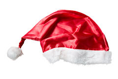 Red Santa Claus hat on white background Royalty Free Stock Photography