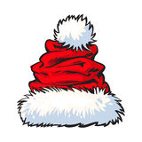 Red Santa Claus hat  on white background Royalty Free Stock Images