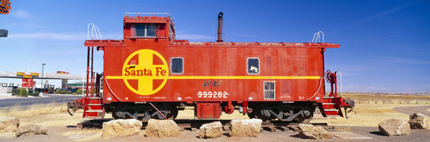 Red Santa Fe caboose Stock Photos