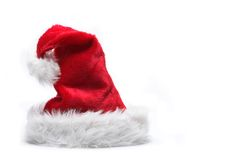 Red santa hat. Red santa claus hats over white background stock photography