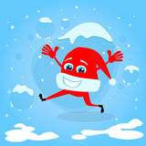Red Santa Hat Christmas Cartoon Character Concept Stock Images