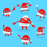 Red Santa Hat Christmas Cartoon Character Set Stock Images
