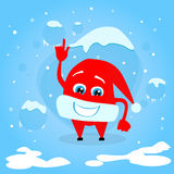 Red Santa Hat Christmas Point Finger Up Show Empty. Copy Space Cartoon Character Concept Blue Snow Background Flat Vector Illustration Stock Photos