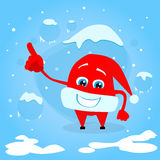 Red Santa Hat Christmas Point Finger Up Show Empty. Copy Space Cartoon Character Concept Blue Snow Background Flat Vector Illustration Royalty Free Stock Photos