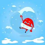 Red Santa Hat Hang on Icicle Christmas Cartoon Stock Photography