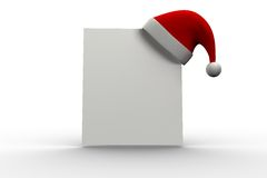 Red santa hat hanging on poster. On white background Royalty Free Stock Photography