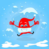 Red Santa Hat Happy Excited Jump Up Laughing Stock Image