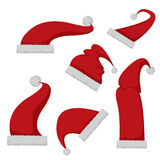 Red Santa hat icon  on white Stock Photos