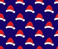 Red Santa Hat Pompom on Blue Background. Vector Illustration. Red Santa Hat Pompom on Blue Background. Vector Illustration Royalty Free Stock Photography