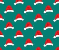 Red Santa Hat Pompom on Green Teal Background. Vector Illustration. Red Santa Hat Pompom on Green Teal Background. Vector Illustration Stock Photography