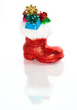 Red Santa's boot with gifts Stock Image