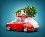 Free Red Santa`s Car With Gift Boxes And Christmas Tree On The Top Stock Image - 158542931