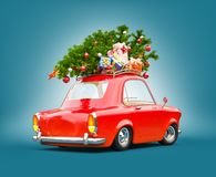 Free Red Santa`s Car With Gift Boxes And Christmas Tree On The Top Stock Photography - 158542952