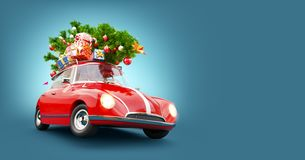 Free Red Santa`s Car With Gift Boxes And Christmas Tree On The Top Royalty Free Stock Photography - 160267057