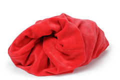 Red santas bag from velvet fabric Stock Image