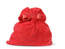 Red santas bag from velvet fabric Stock Photo