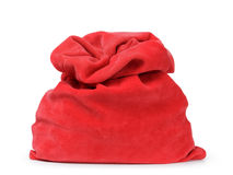Red santas bag from velvet fabric Stock Photography