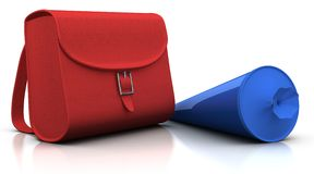 Red satchel and blue 'schultuete' Royalty Free Stock Photography