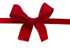 Red sateen bow isolated on the white Royalty Free Stock Image